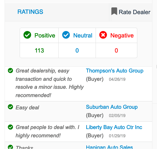Dealer Member Ratings